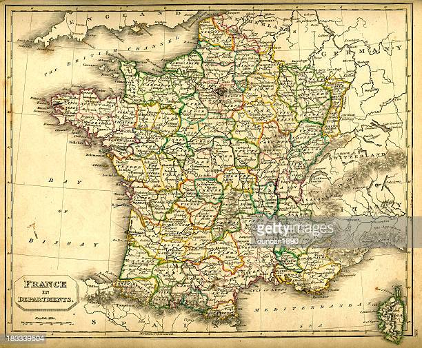 antquie map of france in departments - bay of biscay stock illustrations, clip art, cartoons, & icons