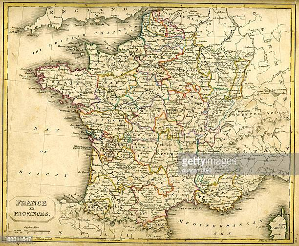 antquie map of france in provinces - normandy stock illustrations, clip art, cartoons, & icons