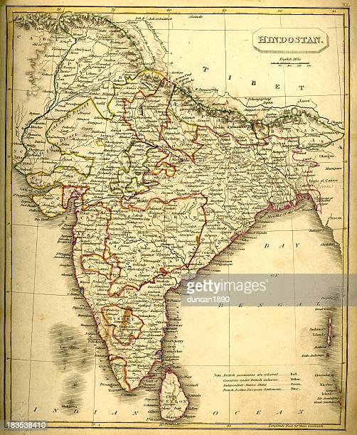 antquie map of india - punjab india stock illustrations