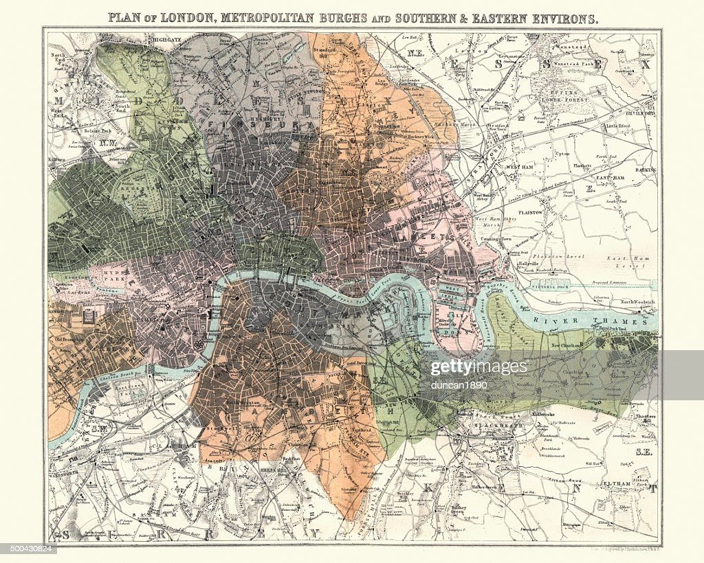 Antquie Map of London ,880 : ストックイラストレーション