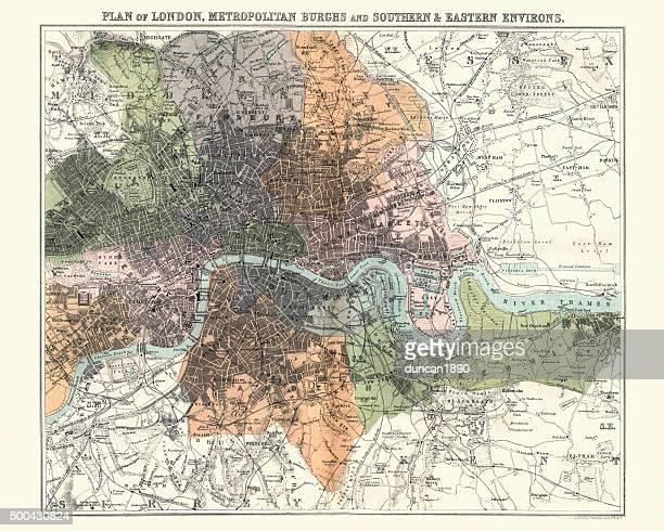 Antquie Map of London, 1880