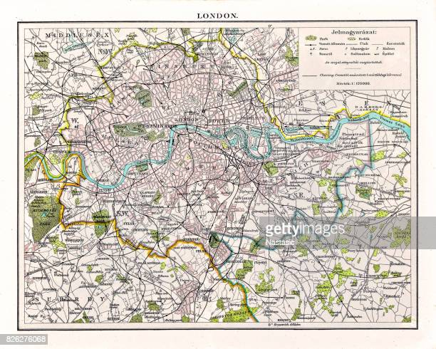 Antquie Map of London, 1895