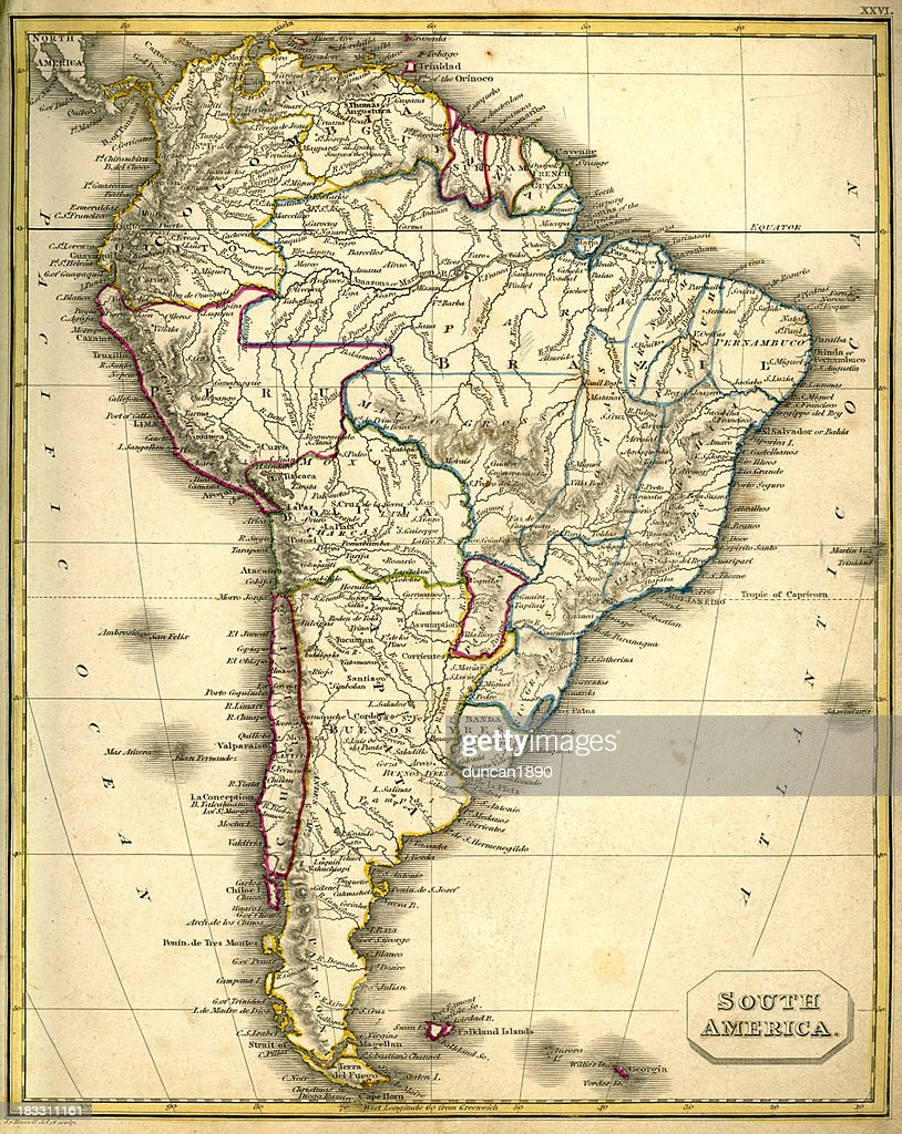 Antquie Map of South America : stock illustration