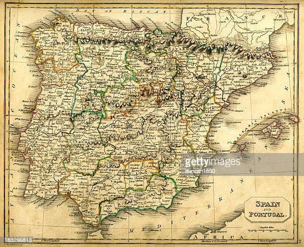 antquie map of spain and portugal - valencia spain stock illustrations, clip art, cartoons, & icons