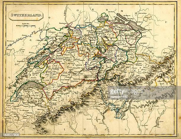 Antquie Map of Switzerland