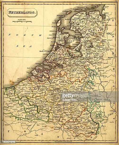 stockillustraties, clipart, cartoons en iconen met antquie map of the netherlands - noord holland