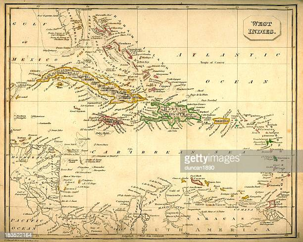 Antquie Map of The West Indies