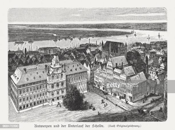 Antwerp and the Scheldt river, Belgium, wood engraving, published 1897