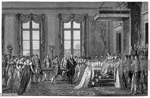 ängstlich für einen erben, den napoleon entscheidet, josephine dump, die verpflichten kann, sendet er eine botschaft nach wien schlägt ehe mit marie louise - diplomatie stock-grafiken, -clipart, -cartoons und -symbole