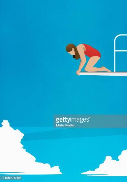 ilustraciones, imágenes clip art, dibujos animados e iconos de stock de anxious woman at the edge of diving platform, looking down - uncertainty