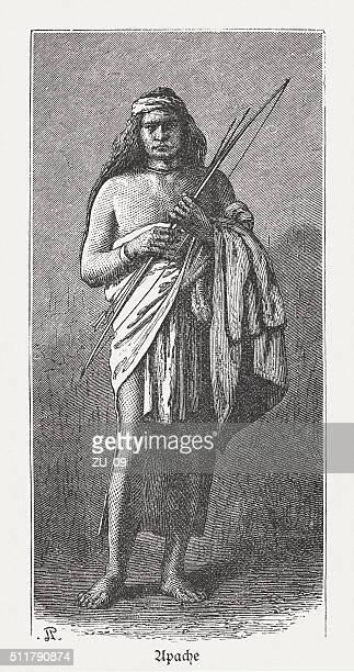 """illustrations, cliparts, dessins animés et icônes de apache, originaire d """" amérique du nord, des gravures, publié en 1880 - apache"""