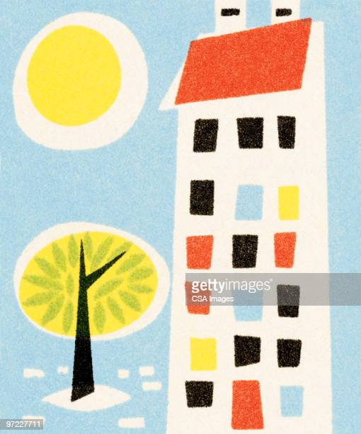 apartment building - environmental issues stock illustrations