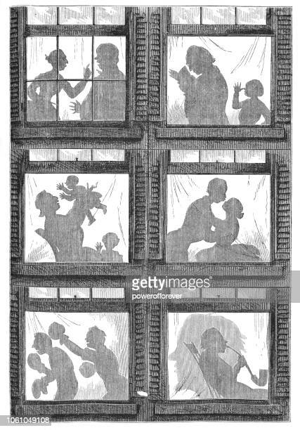 Apartment Window Silhouettes Gag Cartoon (19th Century)