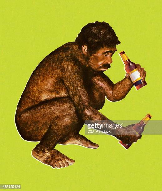 Ape Man Drinking Beer