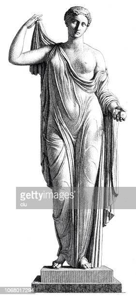 aphrodite, greek goddess of love, statue on white background - aphrodite stock illustrations, clip art, cartoons, & icons