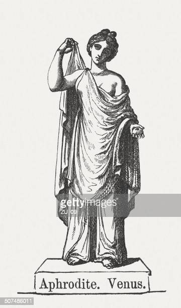 aphrodite (venus), greek goddess of love, wood engraving, published 1878 - aphrodite stock illustrations, clip art, cartoons, & icons