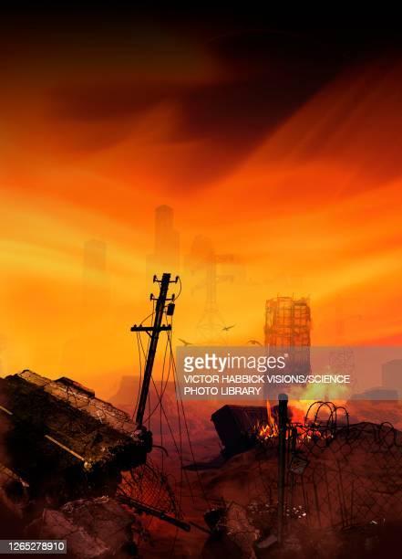 apocalyptic earth, illustration - death stock illustrations