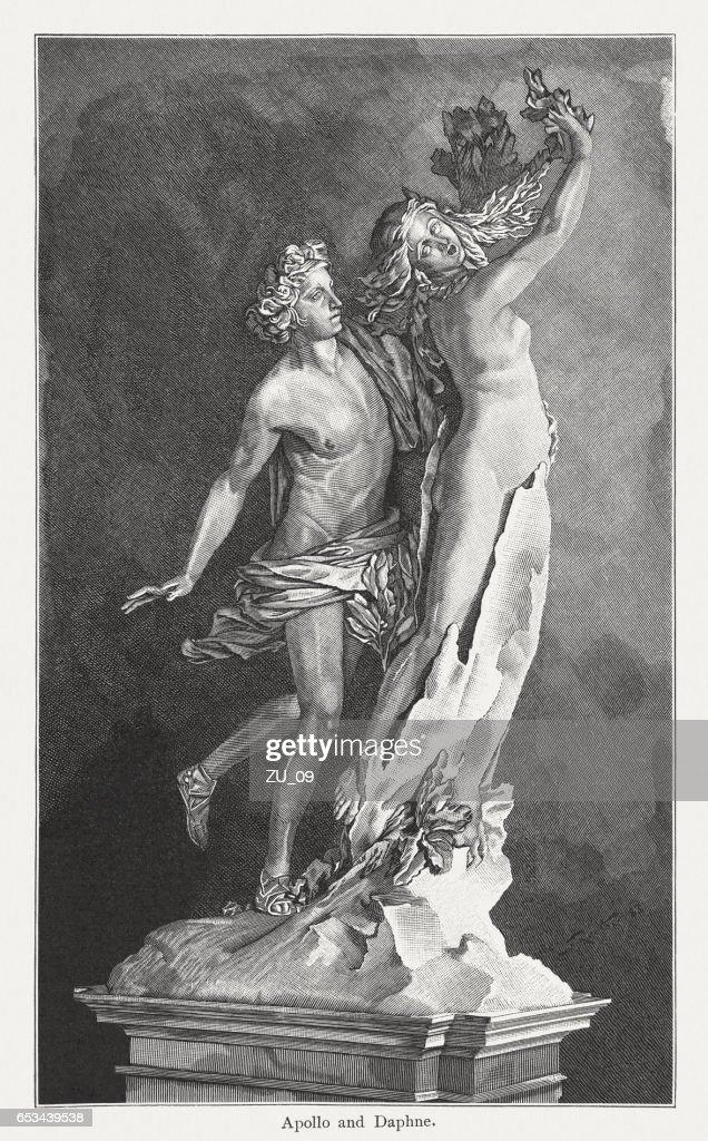 Apollo and Daphne, created (1622/23) by Lorenzo Bernini, published 1884 : stock illustration