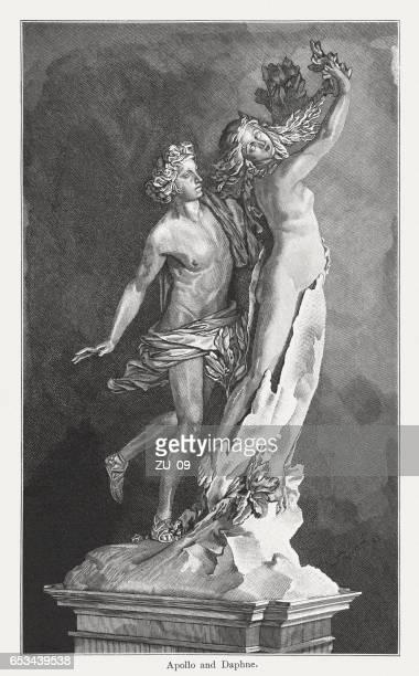 apollo and daphne, created (1622/23) by lorenzo bernini, published 1884 - greek mythology stock illustrations, clip art, cartoons, & icons