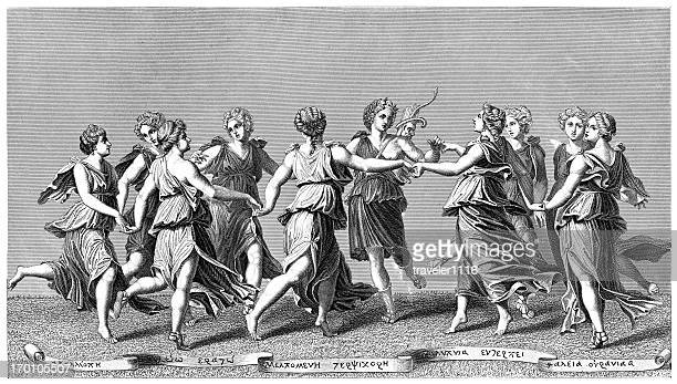 apollo and the muses - classical greek style stock illustrations