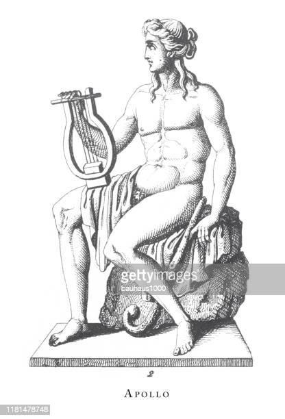 apollo, apollo, sacrifice to mars; other mythological figures engraving antique illustration, published 1851 - roman goddess stock illustrations, clip art, cartoons, & icons