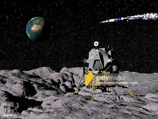 Apollo on surface of moon, with Saturn V rocket in the background.