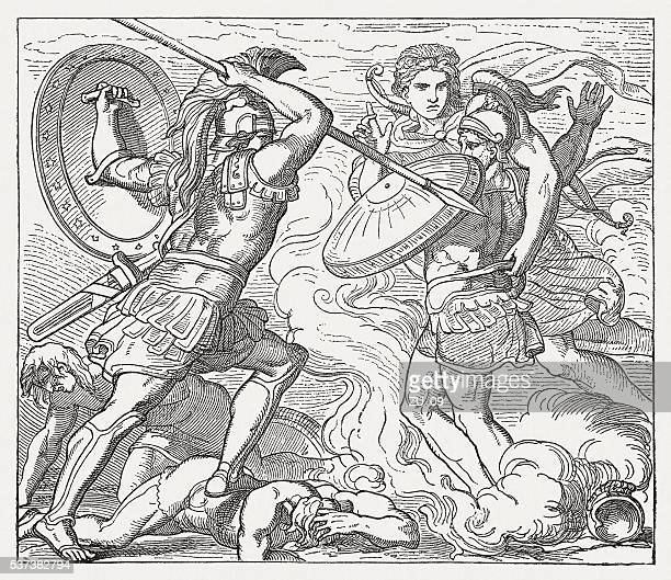 apollon save hector before achilles' furious attacks, greek mythology - trojan war stock illustrations, clip art, cartoons, & icons