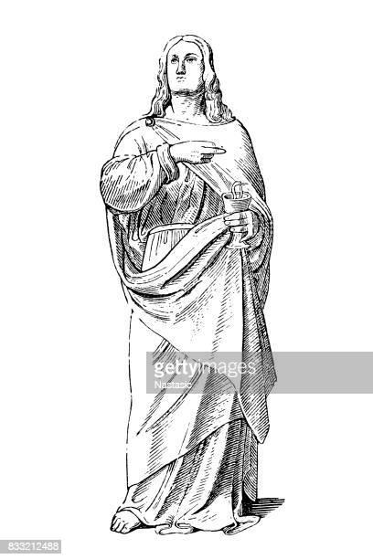 ilustraciones, imágenes clip art, dibujos animados e iconos de stock de apóstol john - san juan bautista