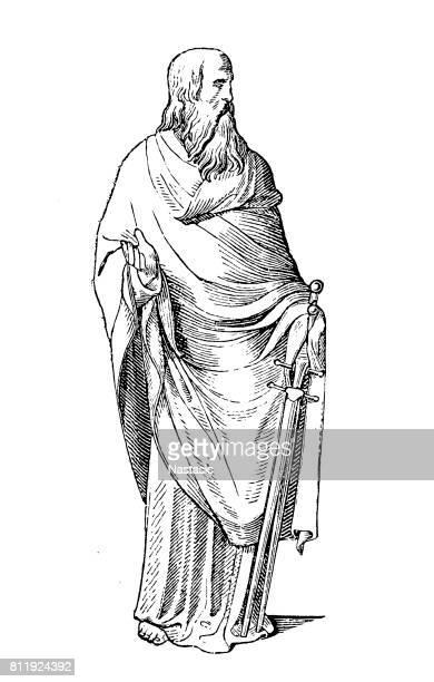 apostle paul - paul the apostle stock illustrations