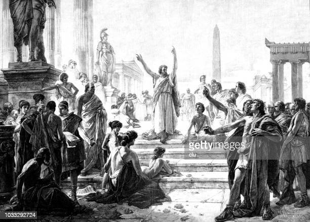 apostle paul in athens - greek people stock illustrations, clip art, cartoons, & icons