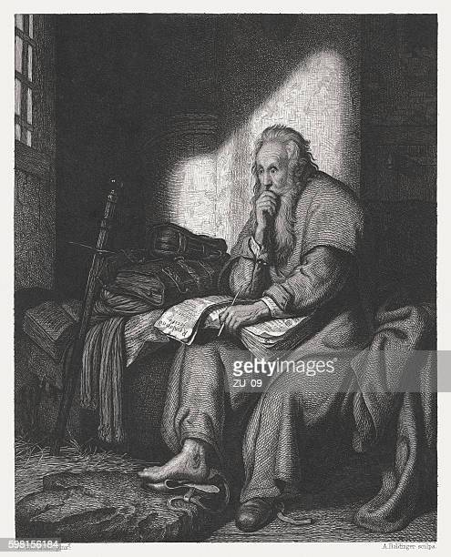 apostle paul in prison, copper engraving after rembrandt, published c.1880 - paul the apostle stock illustrations