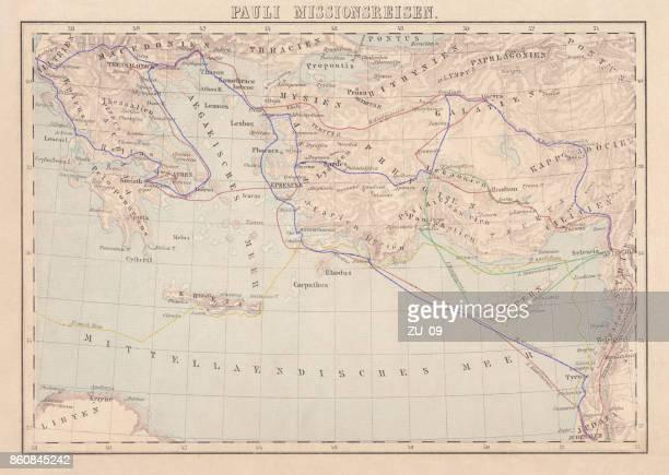 apostel paulus missionsreisen, lithographie, veröffentlicht im jahre 1886 - türkei stock-grafiken, -clipart, -cartoons und -symbole