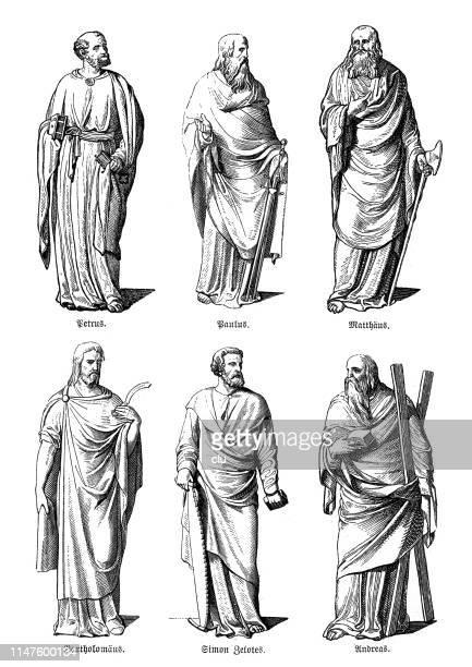 ilustrações de stock, clip art, desenhos animados e ícones de apostles statues, peter, paul, matthew, bartholomew, simon, andrew - santos