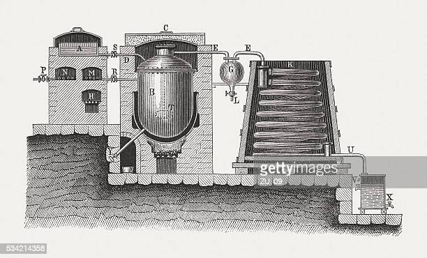 apparatus for the distillation of fatty acids, published in 1880 - distillation stock illustrations, clip art, cartoons, & icons