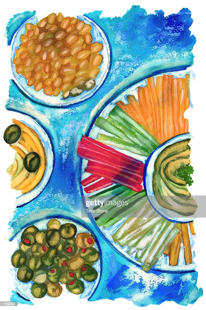 Appetizer Buffet : Stockillustraties