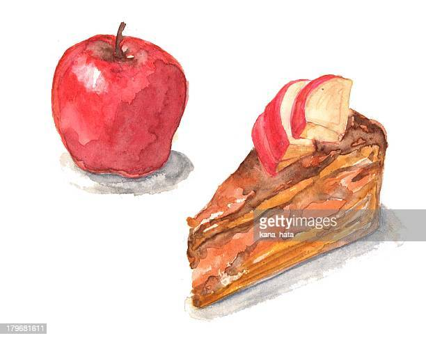 apple cake - apple fruit stock illustrations