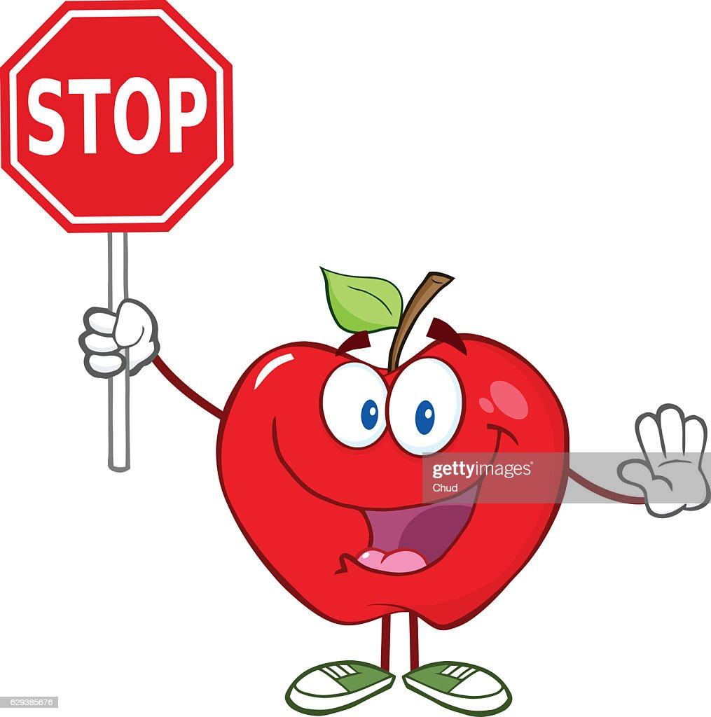 Apple Cartoon Character Holding A Stop Sign High-Res