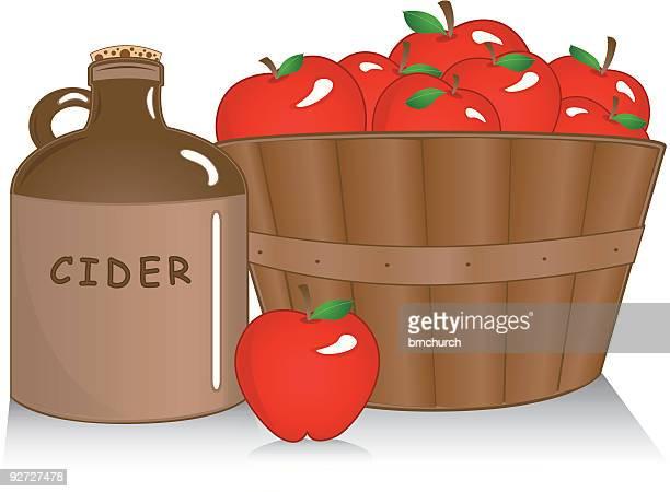 apple cider with basket - cider stock illustrations