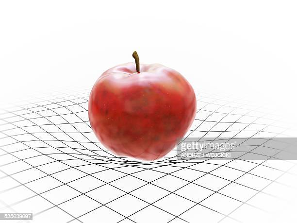 apple on grid pattern, artwork - gravitational field stock illustrations