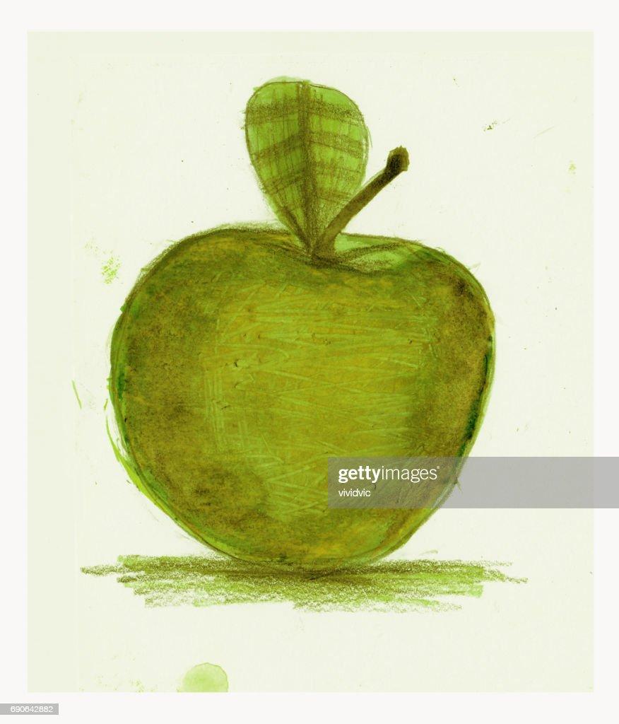 Aquarell Zeichnung Symbol Apple Apple Symbol Kunst Illustration