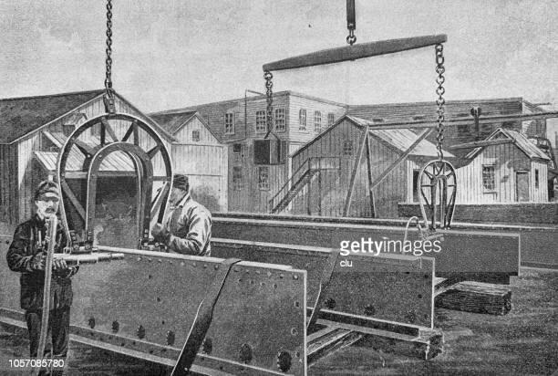 ilustraciones, imágenes clip art, dibujos animados e iconos de stock de aplicación de aire a presión, clavando las máquinas en la construcción del puente - soldar