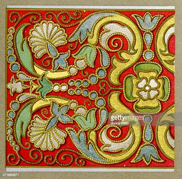 ilustraciones, imágenes clip art, dibujos animados e iconos de stock de bordado applique patrón de siglo xvi - aplique arte de la costura