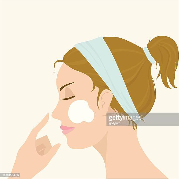 applying facial mask - only women stock illustrations