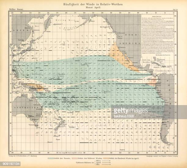 April Frequency of Winds in Relative Values Chart, Pacific Ocean, German Antique Victorian Engraving, 1896