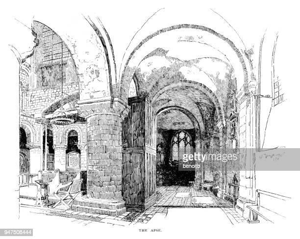 ilustrações de stock, clip art, desenhos animados e ícones de apse at the canterbury cathedral - nicho
