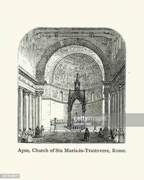 ilustrações de stock, clip art, desenhos animados e ícones de apse of the church of sta maria in trastevere, rome - nicho