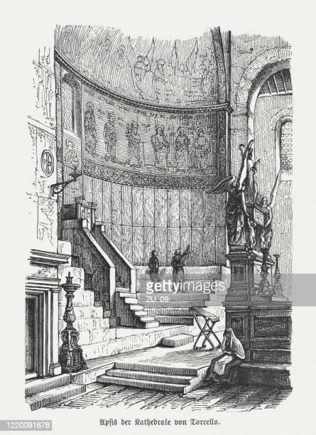ilustrações de stock, clip art, desenhos animados e ícones de apse of the torcello cathedral, venice, italy, woodcut, published 1893 - nicho