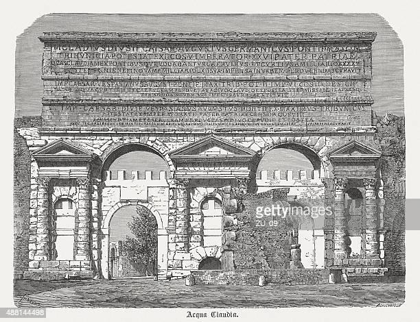 Aqua Claudia, antiguo acueducto en el Imperio Romano, publicado 1878