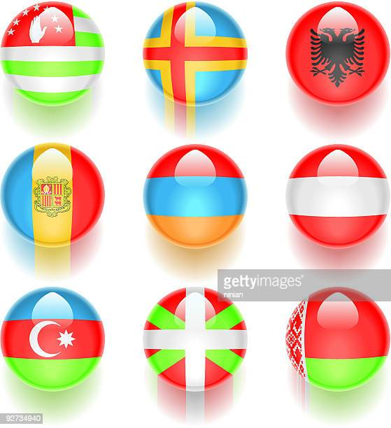 aqua flags – europe 01 - en búsqueda stock illustrations