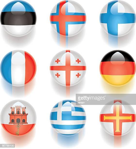 aqua flags – europa 03 - flagge von georgien stock-grafiken, -clipart, -cartoons und -symbole